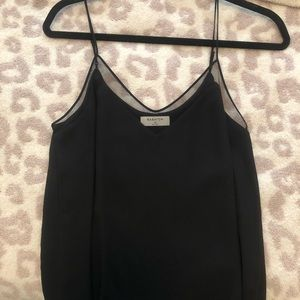 Black thin strap blouse with mesh chest outline